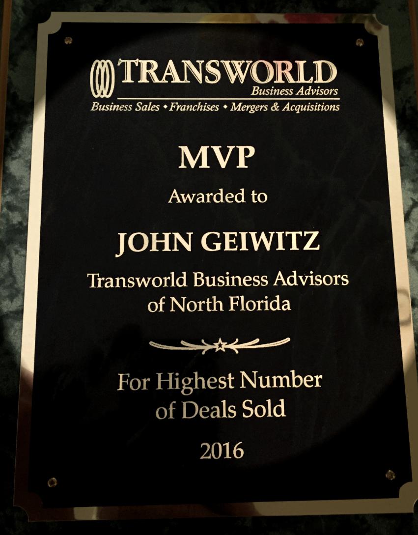 Award for most transactions - jacksonville business broker