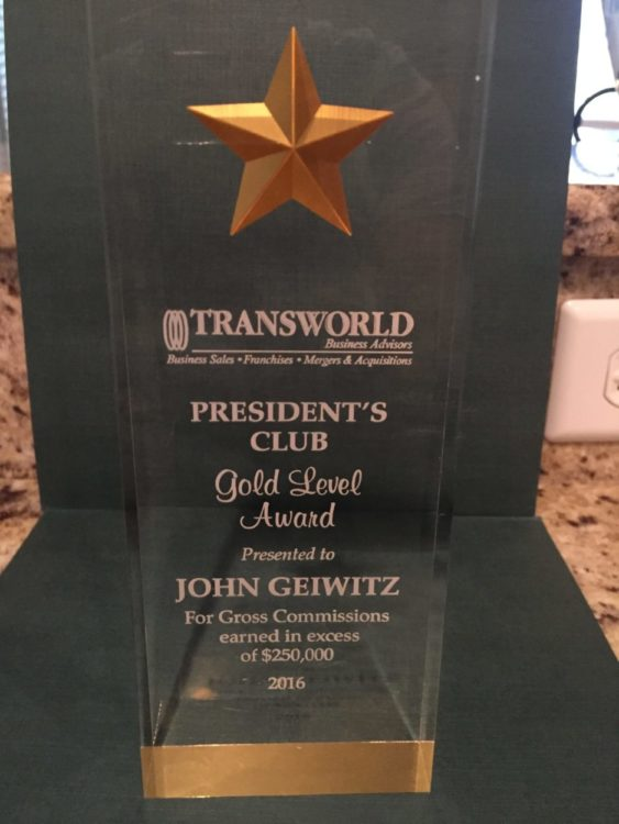 Gold Award for Jacksonville Business Broker John Geiwitz